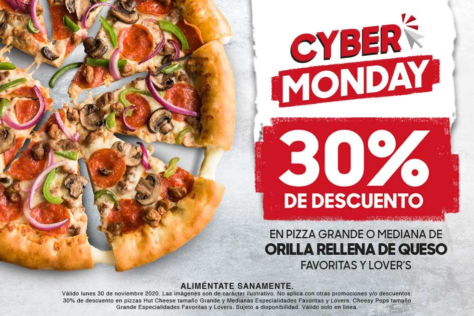 Promoción Cyber Monday Pizza Hut: 30% de descuento en Pizzas Grandes y Medianas 30 de Noviembre