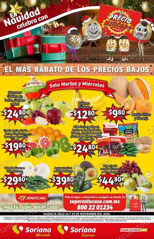 Soriana Mercado: Ofertas en Frutas y Verduras 24 y 25 de Noviembre 2020