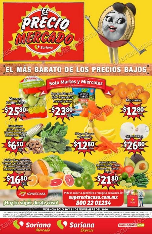 Soriana Mercado: Ofertas Frutas y Verduras 10 y 11 de Noviembre 2020