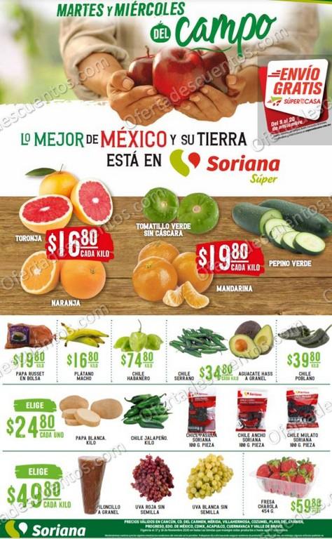 Soriana Super: Ofertas en Frutas y Verduras 17 y 18 de Noviembre 2020