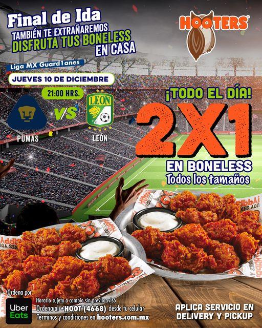 Hooters: 2×1 en Boneless Final de Ida Pumas vs León Jueves 10 De Diciembre