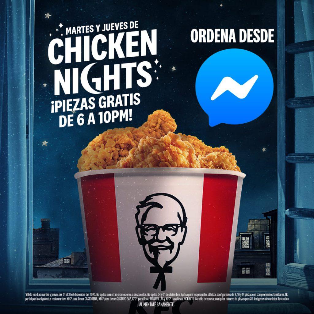 KFC: Chicken Nights Piezas Gratis Martes y Jueves