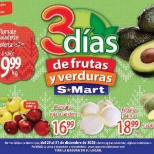 S-Mart: 3 Dias de Ofertas en Frutas y Verduras del 29 al 31 de Diciembre 2020