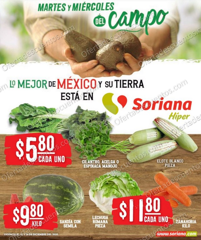 Soriana: Ofertas en Frutas y Verduras 15 y 16 de Diciembre 2020