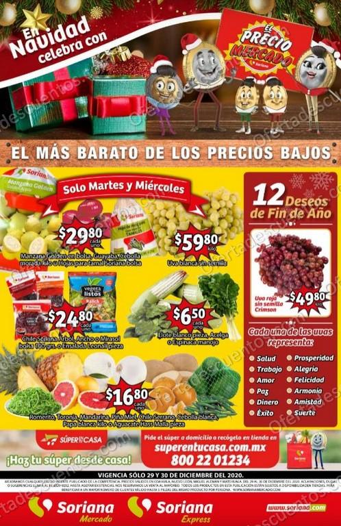 Soriana Mercado: Ofertas en Frutas y Verduras 29 y 30 de Diciembre 2020