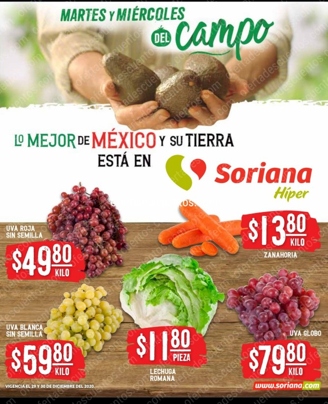 Soriana: Ofertas en Frutas y Verduras 29 y 30 de Diciembre 2020