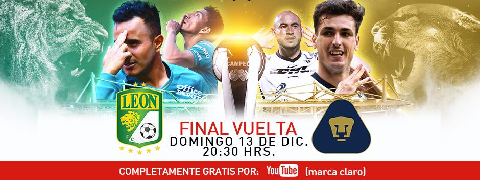 YouTube Marca Claro: Gratis Final Vuelta Entre León y Pumas el 13 de Diciembre