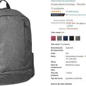 Amazon Basics: Mochila Para Laptop de Hasta 15 pulgadas $182