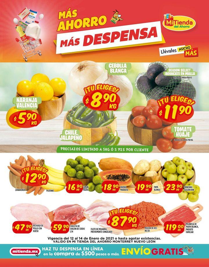 Mi Tienda del Ahorro: Ofertas en Frutas y Verduras del 12 al 14 de Enero 2021