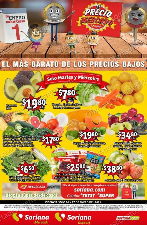 Soriana Mercado: Ofertas en Frutas y Verduras del 26 al 28 de Enero 2021