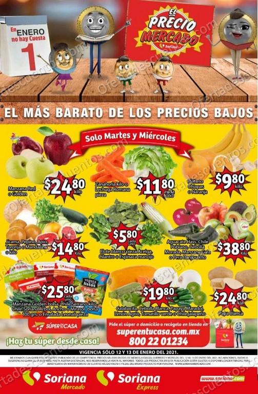 Soriana Mercado: Ofertas en Frutas y Verduras 12 y 13 de Enero 2021