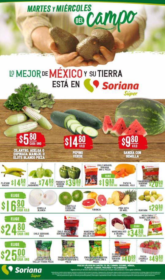 Soriana Super: Ofertas en Frutas y Verduras Martes y Miércoles del Campo 26 y 27 de Enero 2021