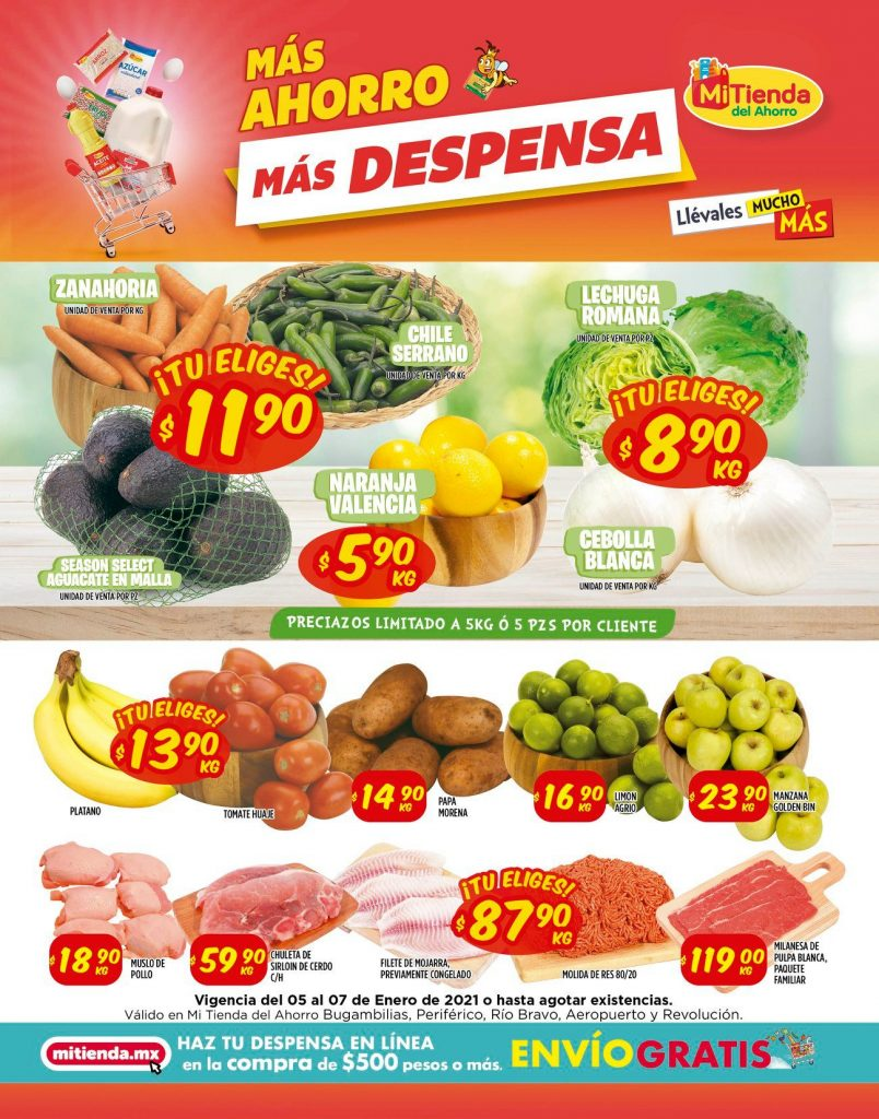 Mi Tienda del Ahorro: Ofertas en Frutas y Verduras del 05 al 07 de Enero 2021