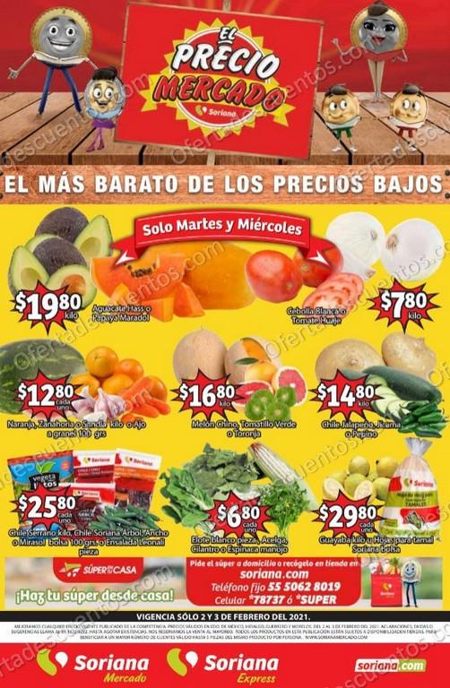 Soriana Mercado: Ofertas en Frutas y Verduras 2 y 3 de Febrero 2021
