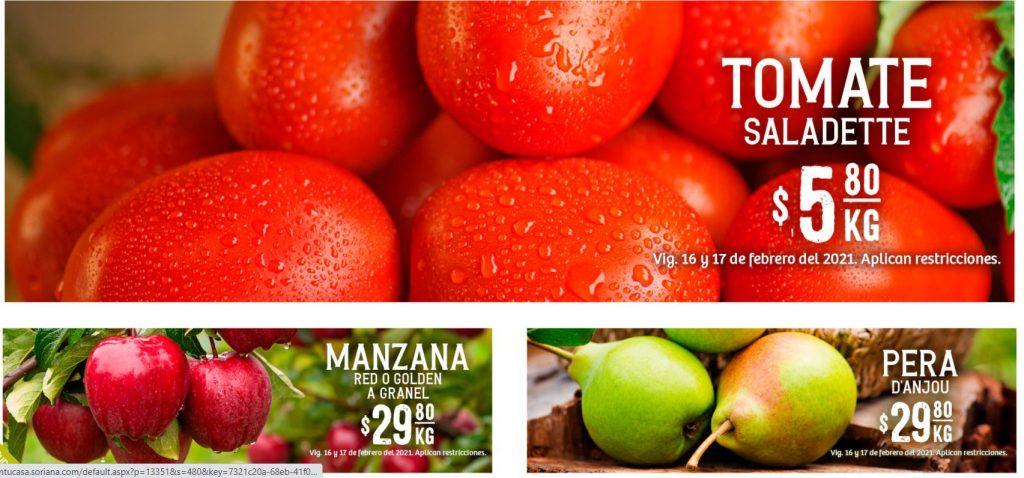 Soriana: Ofertas en Frutas y Verduras 16 y 17 de Febrero 2021