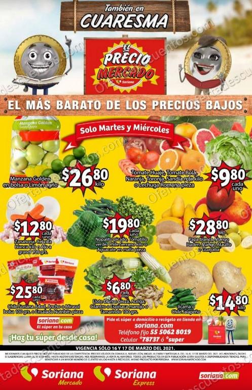 Soriana Mercado: Ofertas en Frutas y Verduras 16 y 17 de Marzo 2021