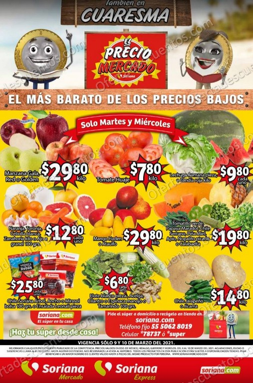 Soriana Mercado: Ofertas en Frutas y Verduras 9 y 10 de Marzo 2021