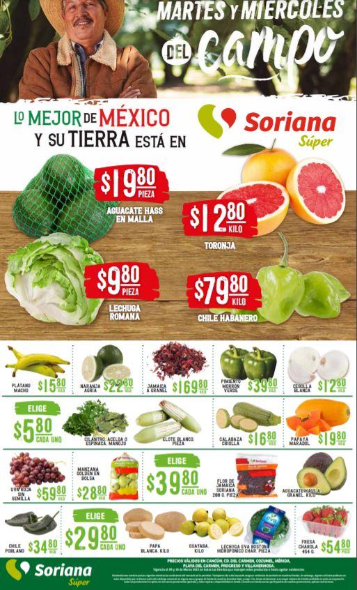 Soriana Super: Ofertas en Frutas y Verduras 9 y 10 de Marzo 2021