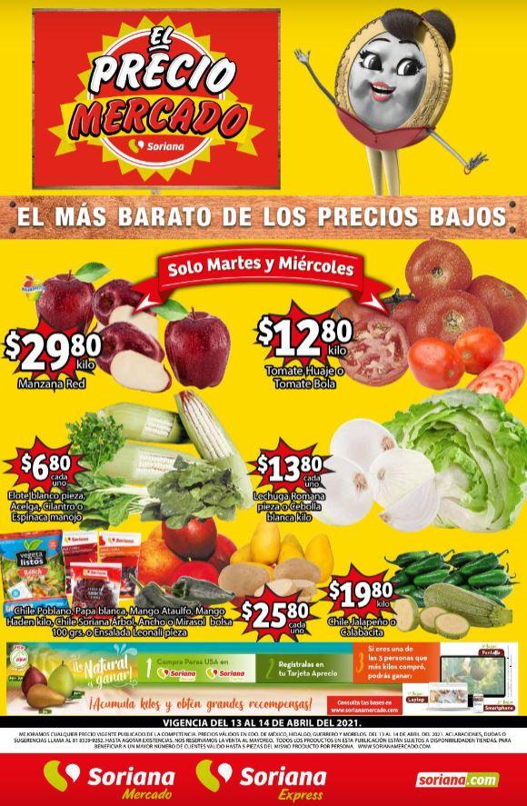 Soriana Mercado: Ofertas en Frutas y Verduras del 13 y 14 de Abril 2021