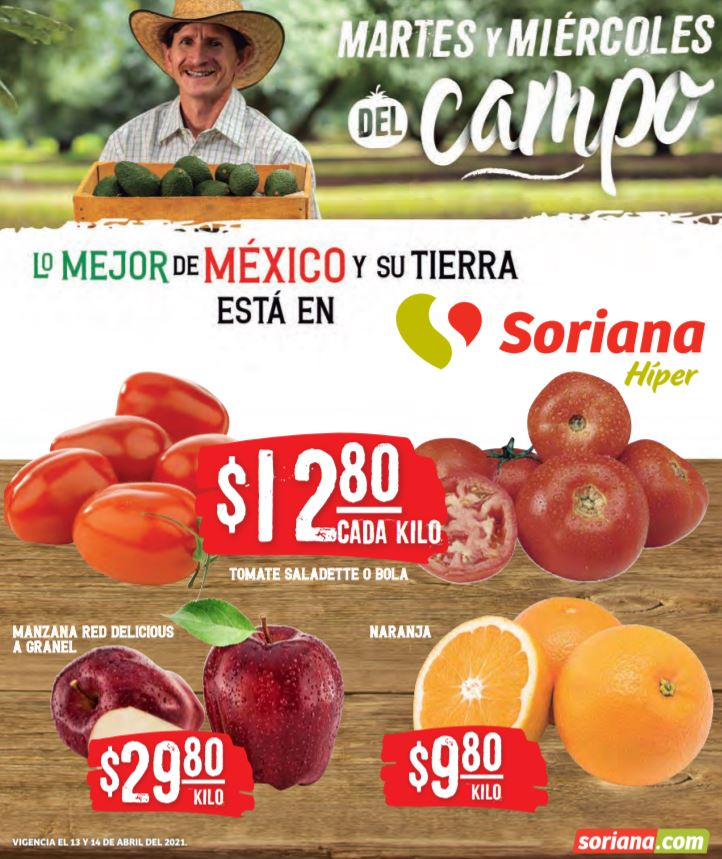 Soriana: Ofertas en Frutas y Verduras 13 y 14 de Abril 2021