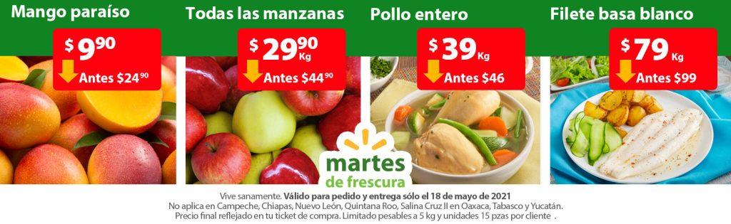 Ofertas en Frutas y Verduras Martes de Frescura Walmart 18 de Mayo 2021
