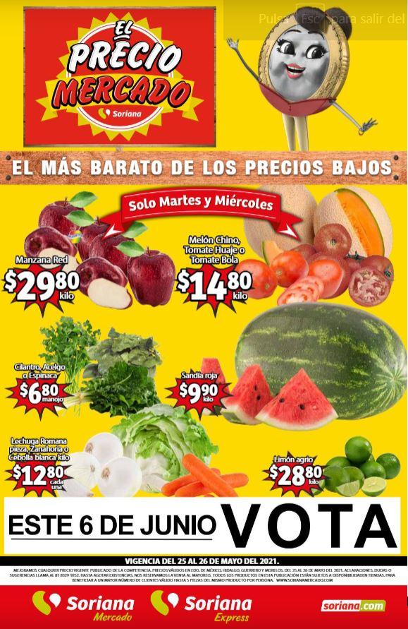 Soriana Mercado: Ofertas en Frutas y Verduras 25 y 26 de Mayo 2021