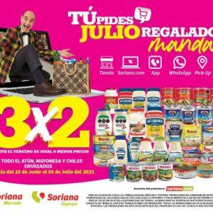 Oferta Estelar Julio Regalado 2021 Soriana: 3×2 en Atún, Mayonesa y Chiles