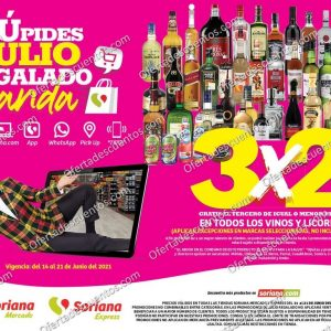 Oferta Estelar Julio Regalado 2021 Soriana: 3×2 en Todos los Vinos y Licores