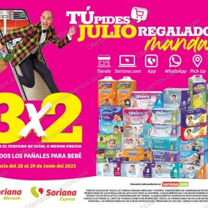 Ofertas Julio Regalado 2021 Soriana Mercado: 3×2 en Todos los Pañales para Bebés