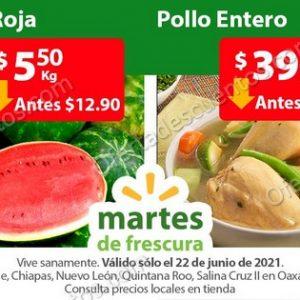 Ofertas Frutas y Verduras Martes de Frescura Walmart 22 de Junio 2021