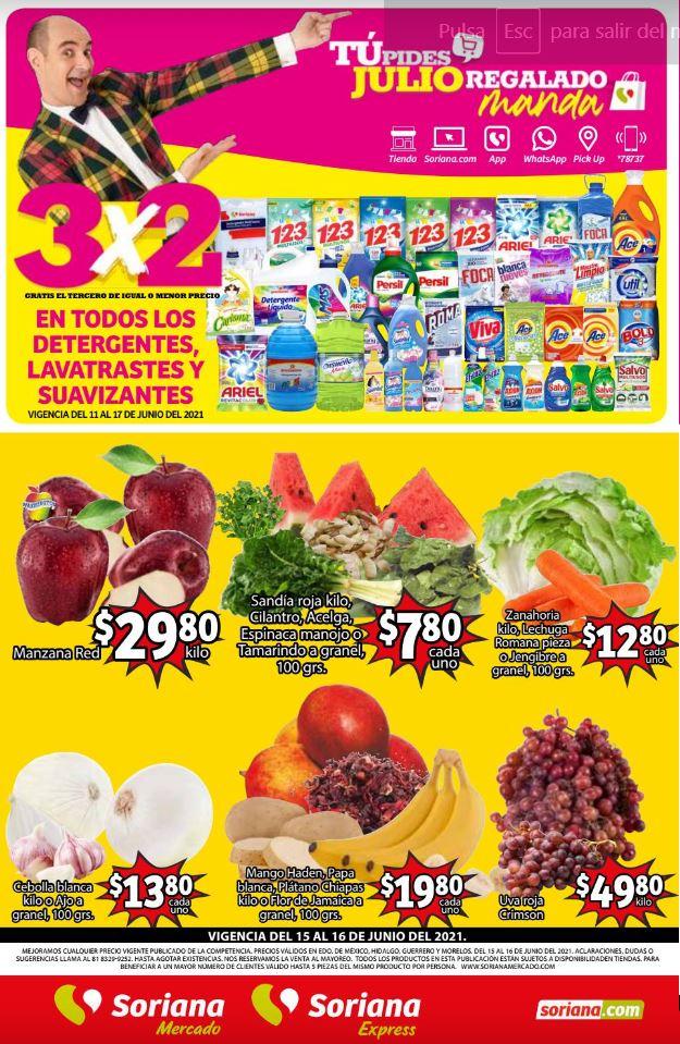 Soriana Mercado: Ofertas en Frutas y Verduras del 15 al 17 de Junio 2021
