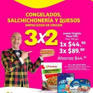 Oferta Estelar Julio Regalado 2021 Soriana: 3×2 en Salchichonería, Congelados y Quesos Empacados