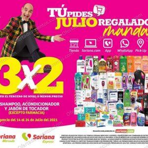 Oferta Estelar Julio Regalado 2021 Soriana: 3×2 en Shampoo, Acondicionador y Jabón de Tocador