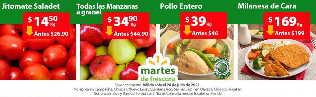 Ofertas en Frutas y Verduras Martes de Frescura Walmart 20 de Julio 2021