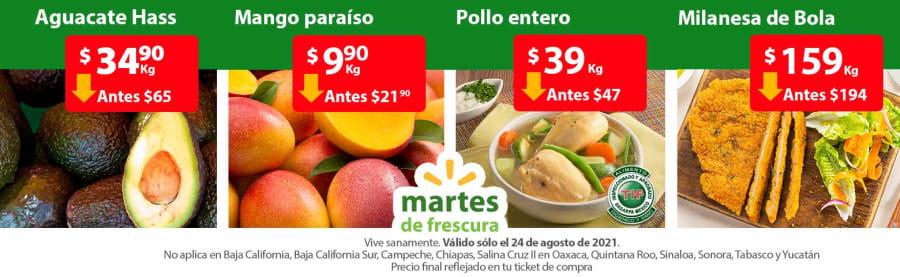 Ofertas en Frutas y Verduras Martes de Frescura Walmart 24 de Agosto 2021