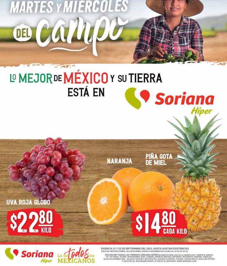 Ofertas en Frutas y Verduras Soriana 21 y 22 de Septiembre 2021