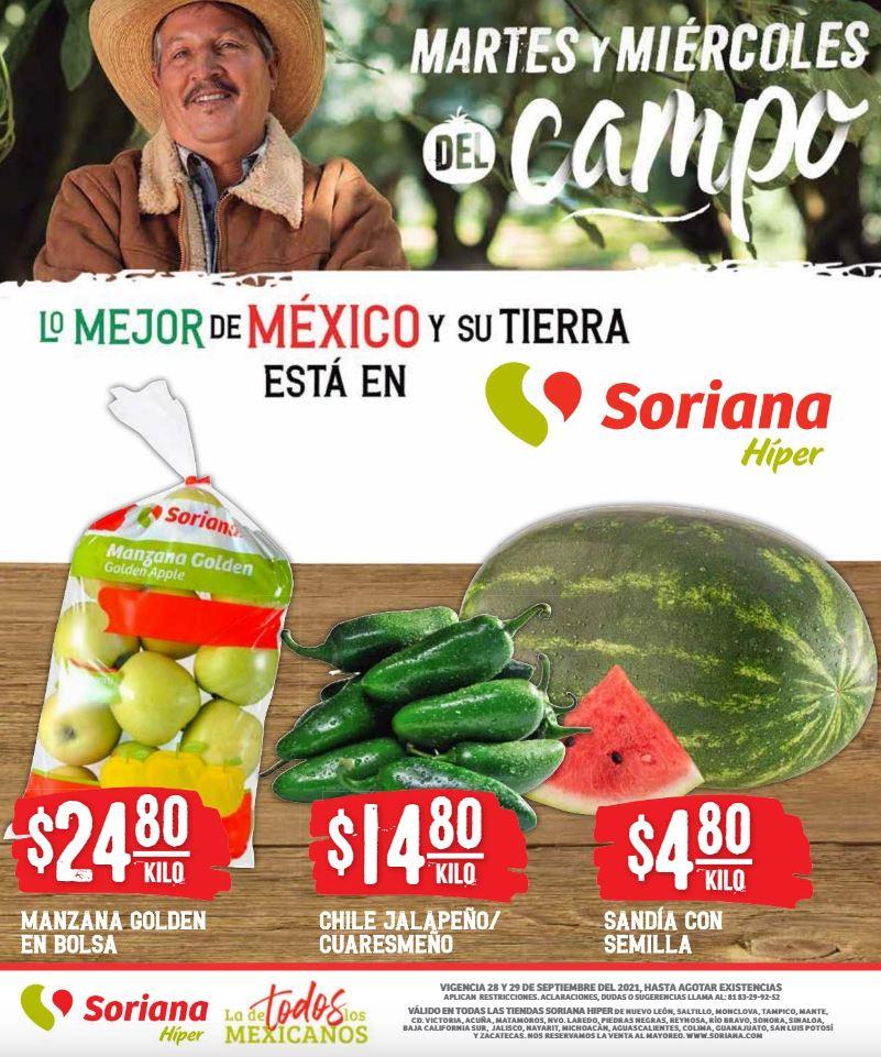 Ofertas en Frutas y Verduras Soriana 28 y 29 de Septiembre 2021