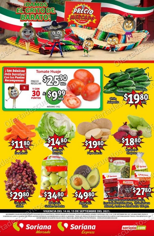 Ofertas en Frutas y Verduras Soriana Mercado 14 y 15 de Septiembre 2021